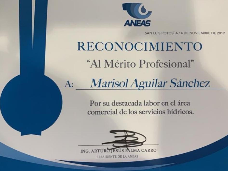 AGUA DE PUEBLA PARA TODOS RECIBE RECONOCIMIENTO AL MÉRITO PROFESIONAL EN EL ÁREA COMERCIAL DE LOS SERVICIOS HÍDRICOS