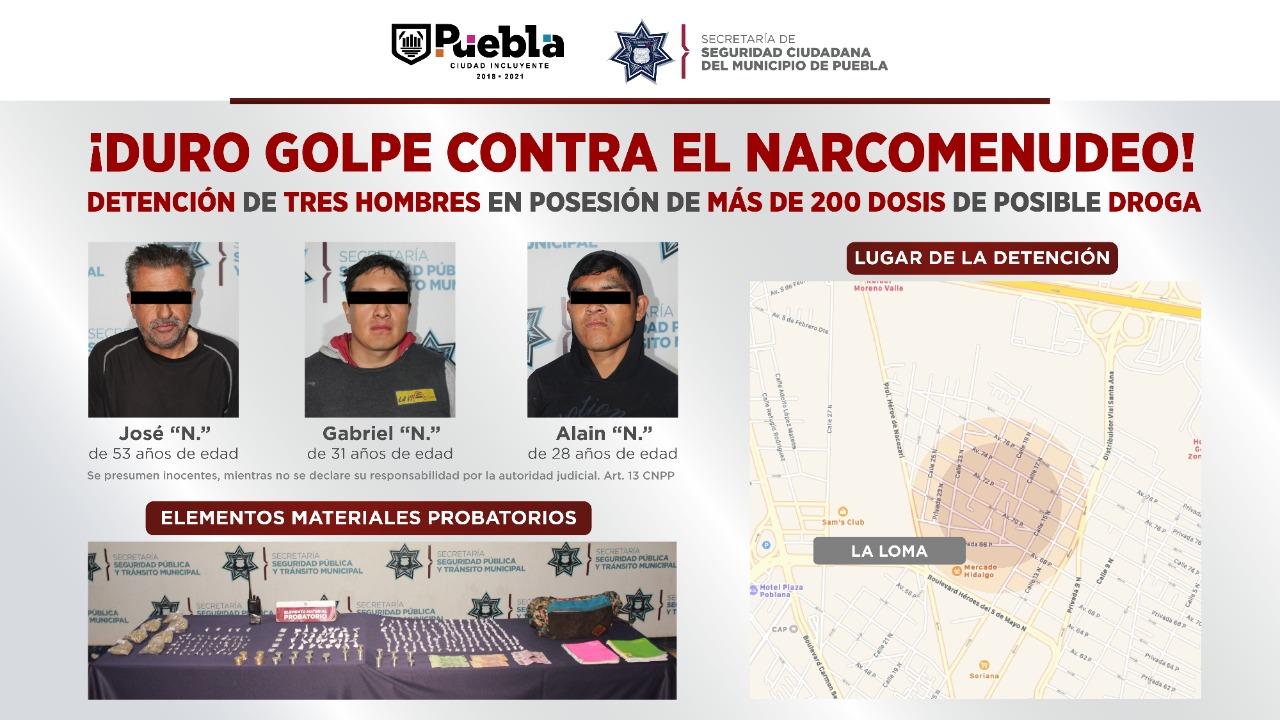 ASEGURÓ SSC DE PUEBLA MÁS DE 200 DOSIS DE POSIBLE DROGA; HAY TRES HOMBRES DETENIDOS